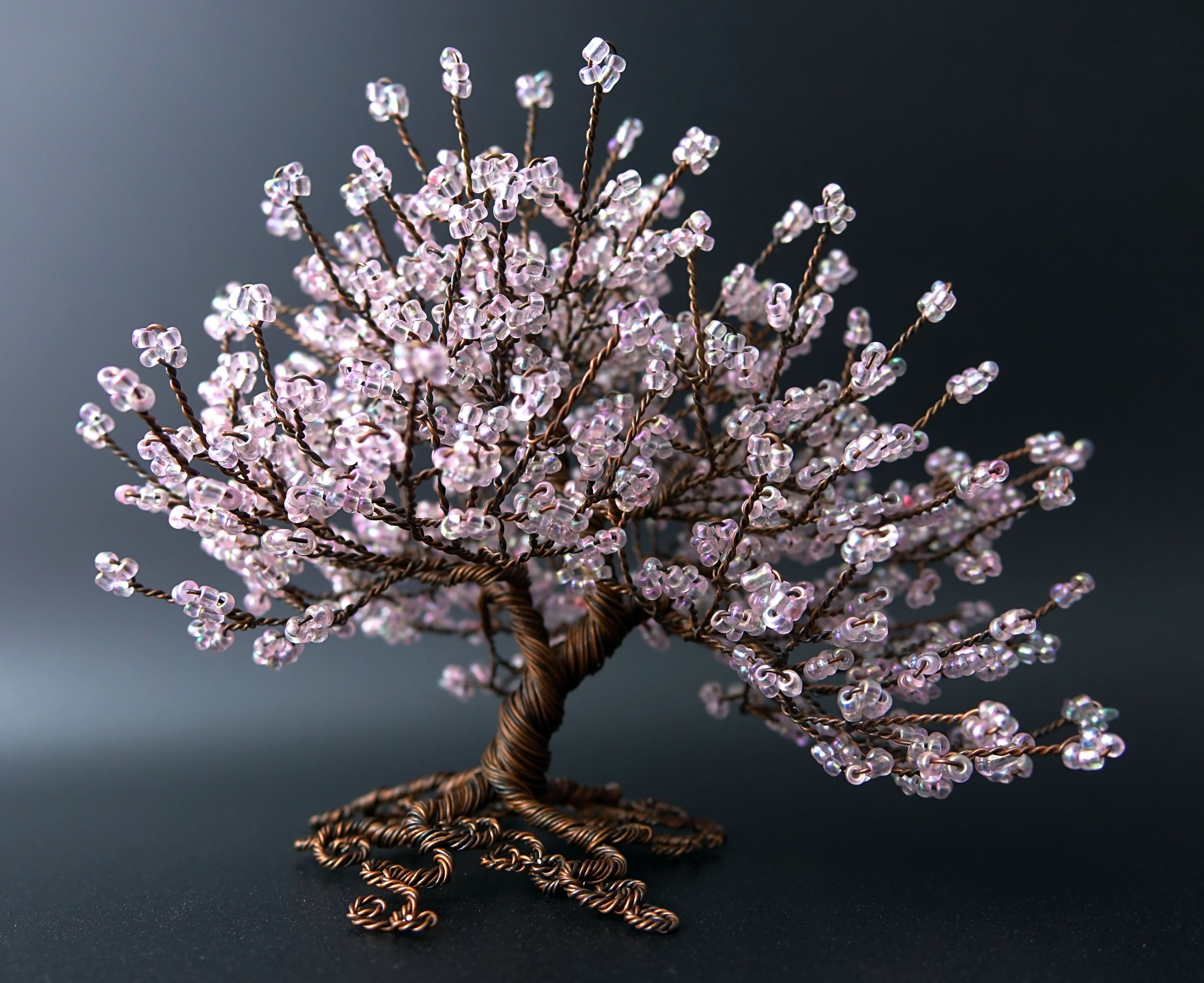 A Cherry Blossom Inspired Tree Of Life Sculpture Using Pale Pink Seed Beads And Antique Coloured Copper Wire Wire Tree Sculpture Tree Sculpture Wire Tree