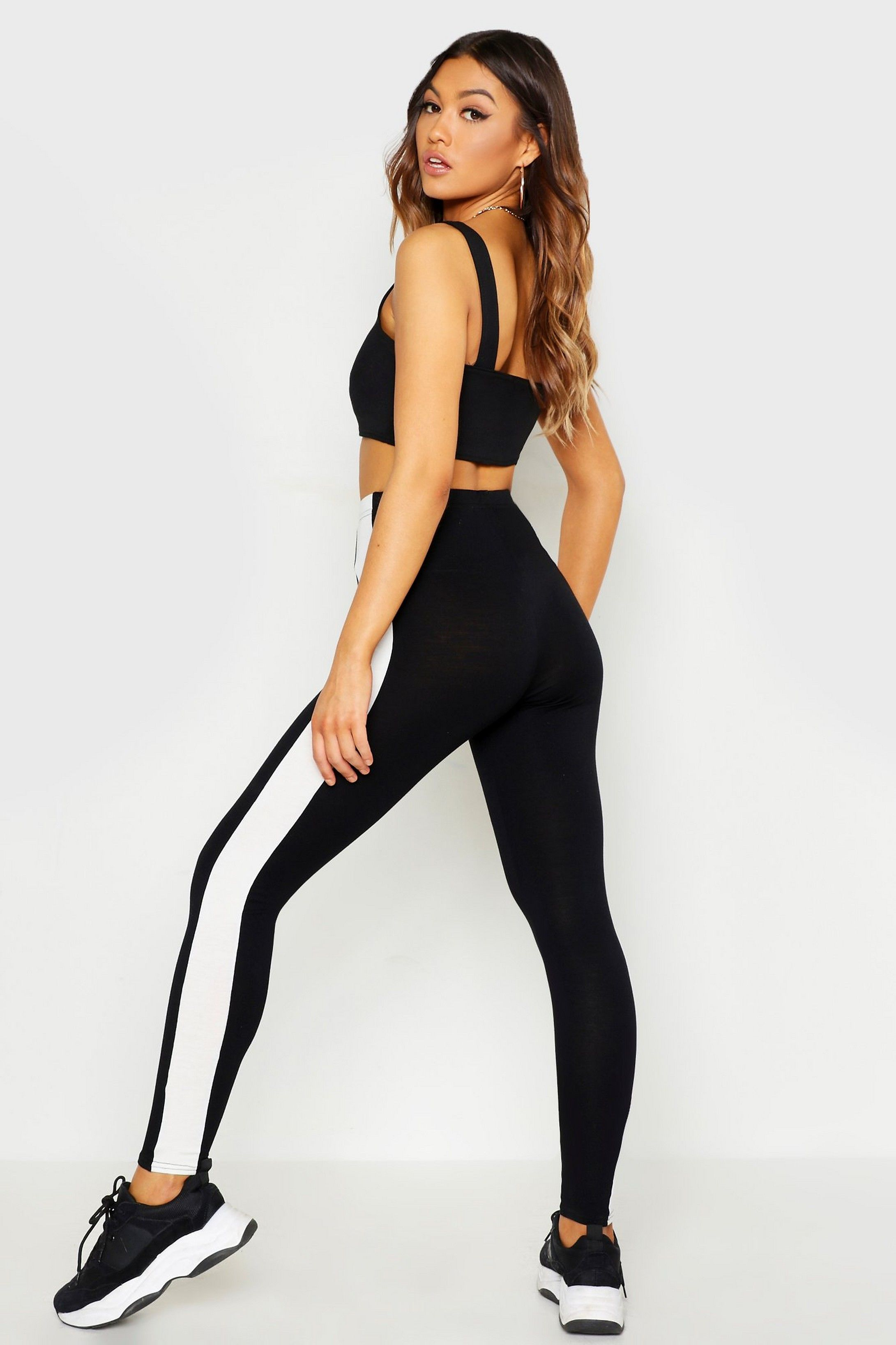 Contrast Side Stripe Leggings | Boohoo #stripedleggings