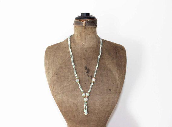 Vintage Tassel Necklace  Green Bead Tassel by MeadowsVintage