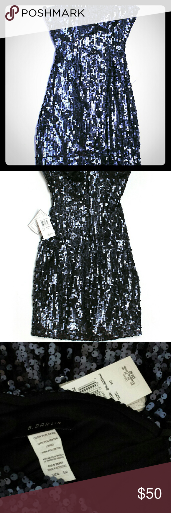 489b42ff8 NWT B.Darlin Sequin Strapless Dress NWT | Midnight blue, Strapless ...