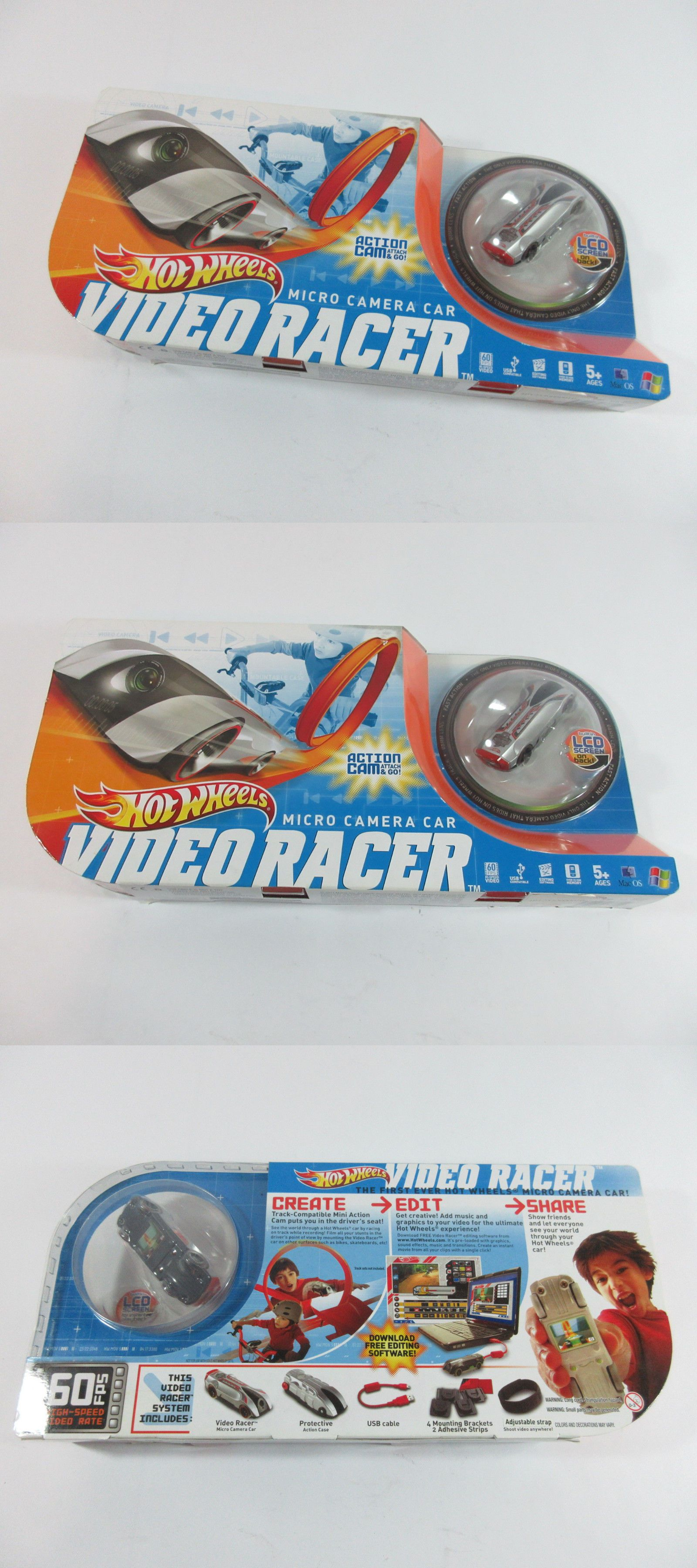 Car toys logo  Hot Wheels Video Racer Micro Camera Car w LCD Screen Silver Red NEW