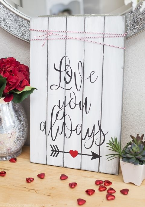 make your own love you always diy valentine sign with this tutorial its - Valentine Signs