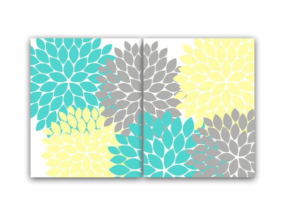 Home Decor Wall Art Yellow And Turquoise Aqua Flower