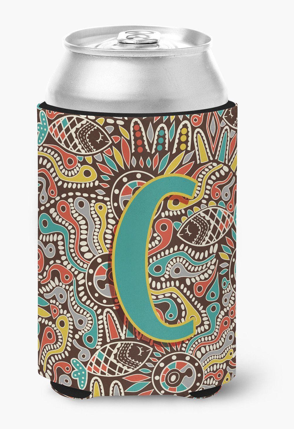 Letter C Retro Tribal Alphabet Initial Can or Bottle Hugger CJ2013-CCC