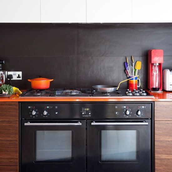 Dark Grey Large Tile Kitchen Splashback