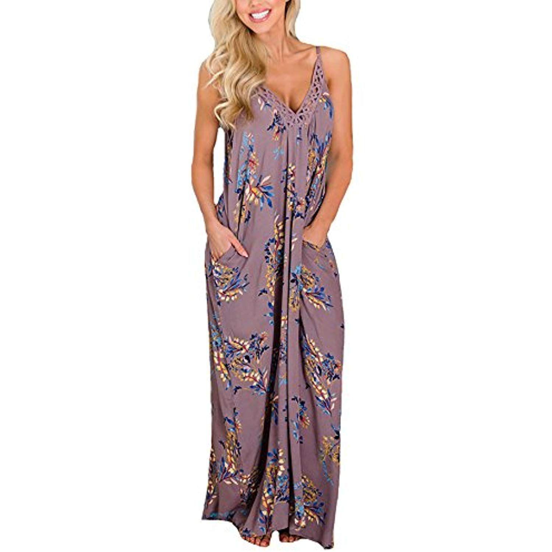 Women/'s Spaghetti Strap Floral Print Deep V Neck Pocket Boho Maxi Long Dress