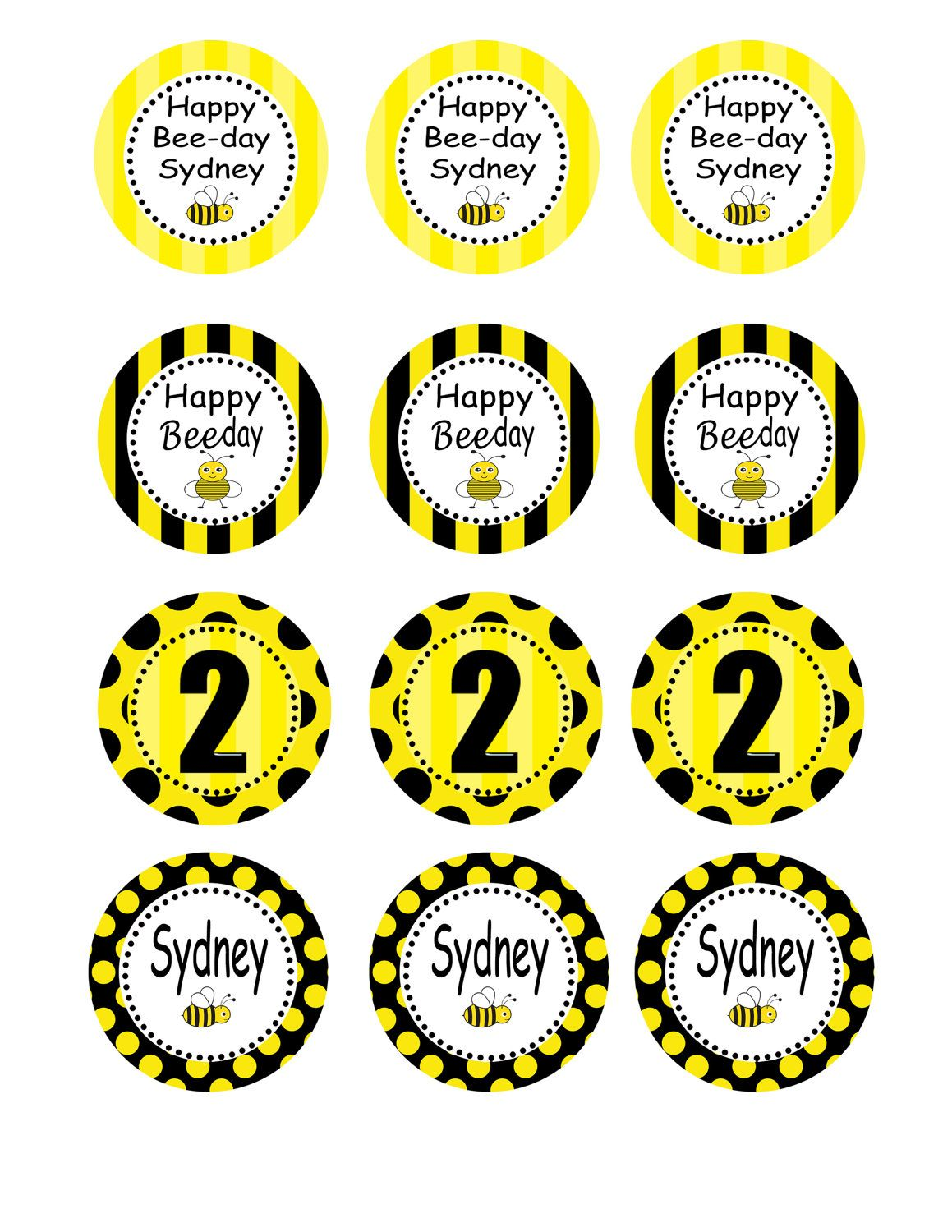 Bumble Bee Baby Birthdy Party Diy Printable Circles 8 00 Via Etsy
