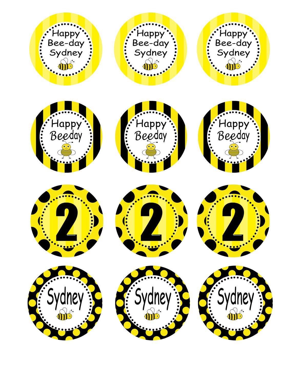 Bumble Bee Baby Birthdy Party Diy Printable Circles 8 00
