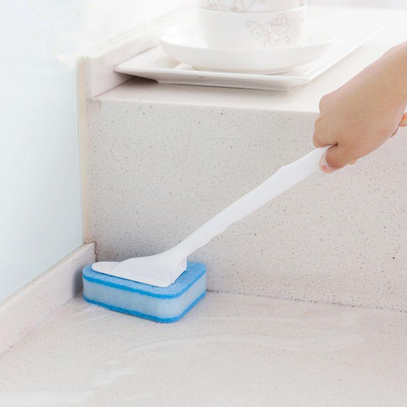 Triangle Long Handle Sponge Brushes Bathroom Floor Tiles Cleaning