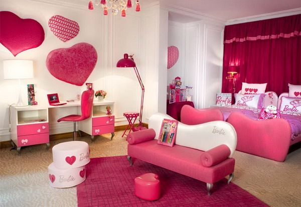 girls bedroom designs ideas within hot pink bedroom color in heart bedroom theme. beautiful ideas. Home Design Ideas