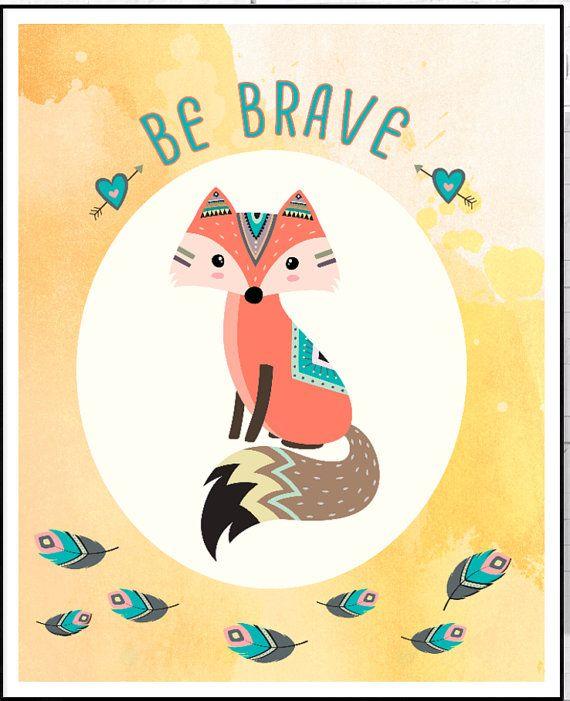 Fox Nursery Art, Be Brave Quote  Nursery, Fox Children Art , Woodland Animal Nursery, Watercolor Yel