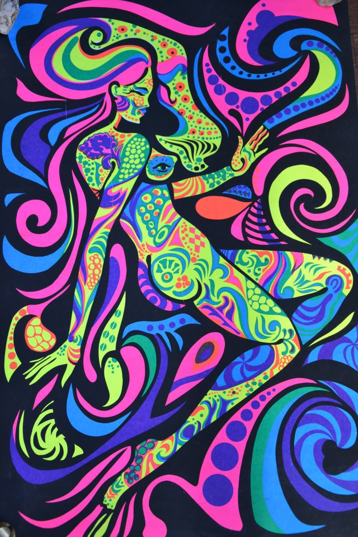 """"""" Astral Girl """" Black Light Poster 1970 The"""