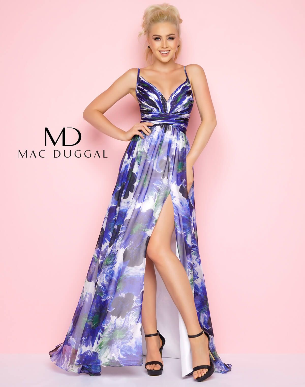Blue floral print, strapless, deep V-neck, chiffon with rouched ...
