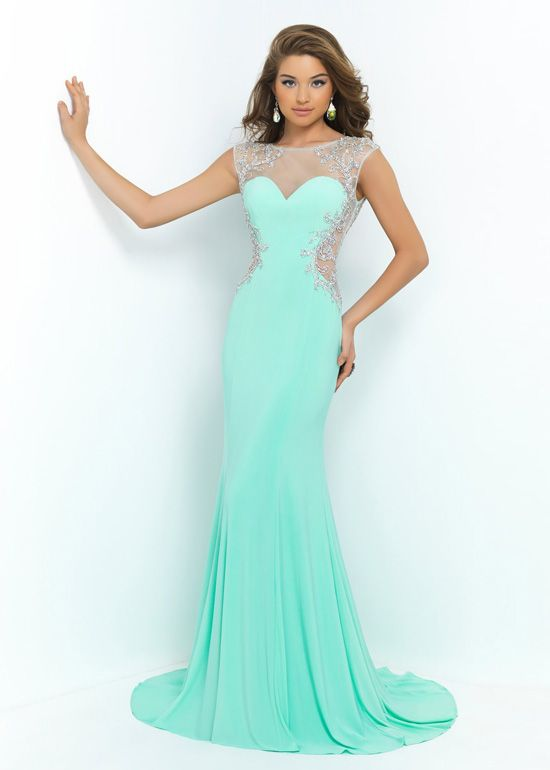 Cap Sleeves Long Mint Green Sheer Side Cut Outs Beaded Prom Dress ...