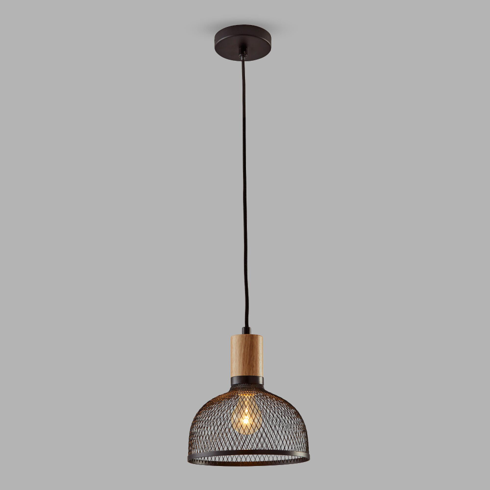 Small Black Mesh And Wood Clint Pendant Lamp With Images Pendant Lamp Black Pendant Lamp Black Mesh