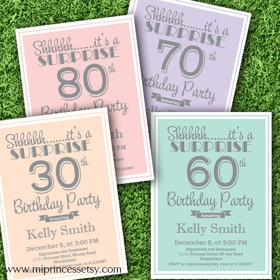 Surprise Birthday Invitation for any age 30th 40th by miprincess