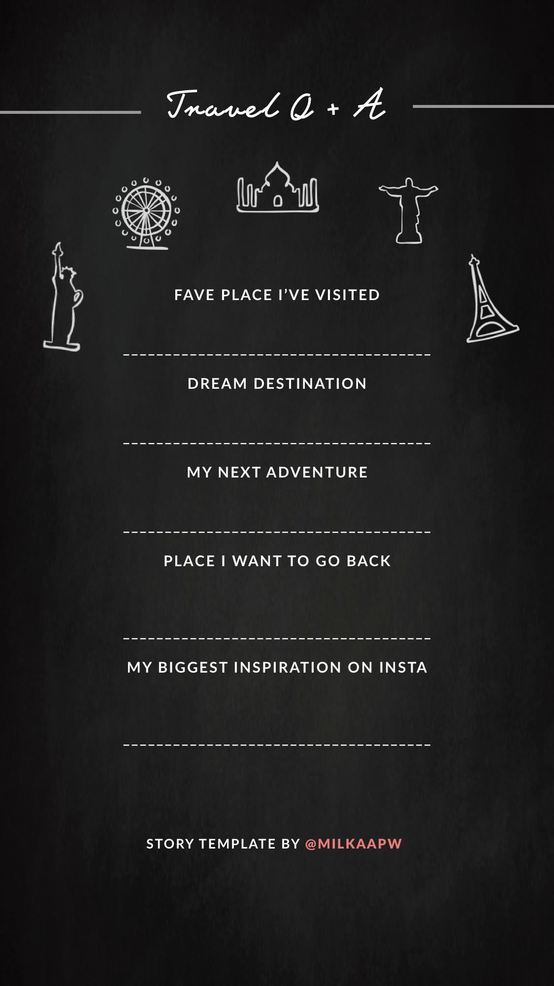 Travel Q + A | Instagram Story Q & A Template | Pinterest