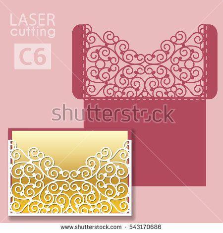 Laser Cut Wedding Invitation Card Template Vector Wedding