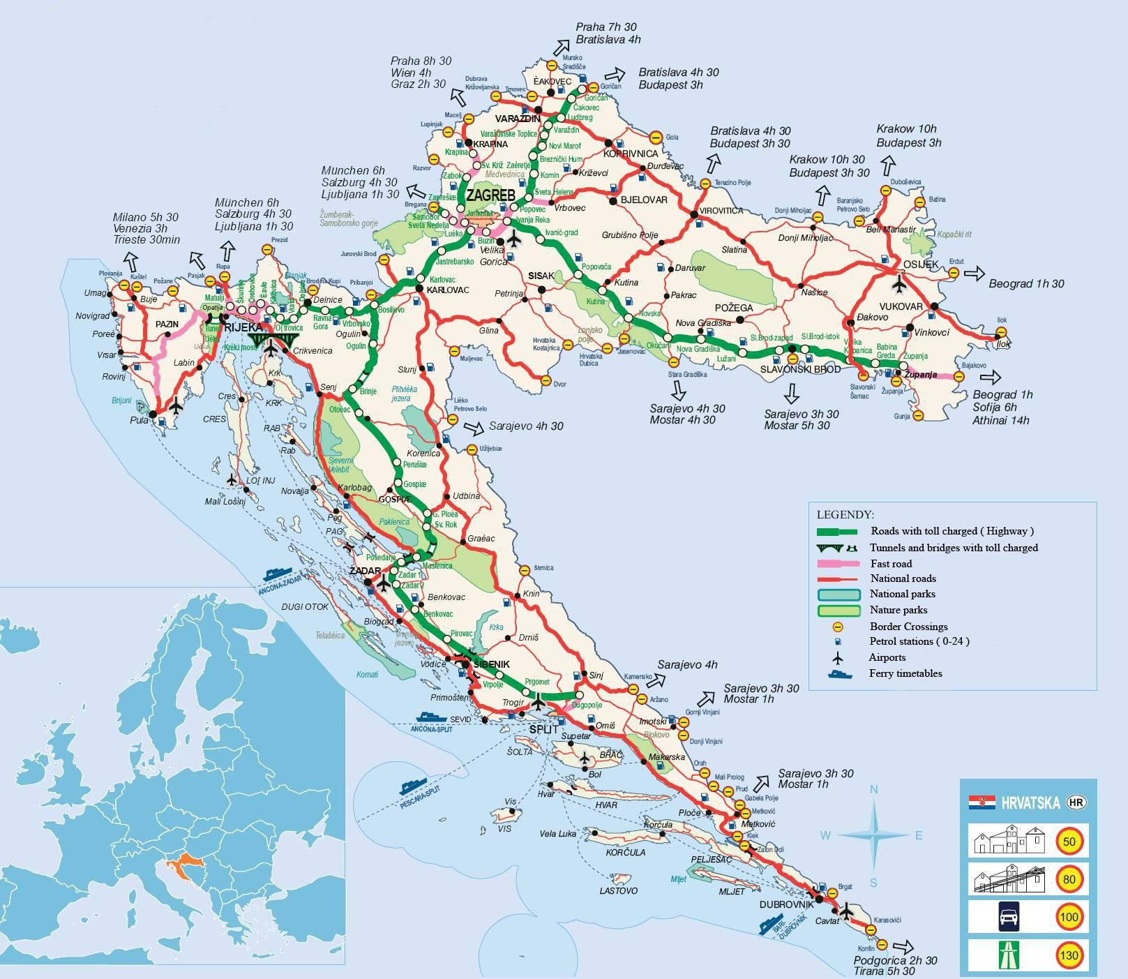 Croatia Road Map Croatia Map Tourist Map Croatia Tourist