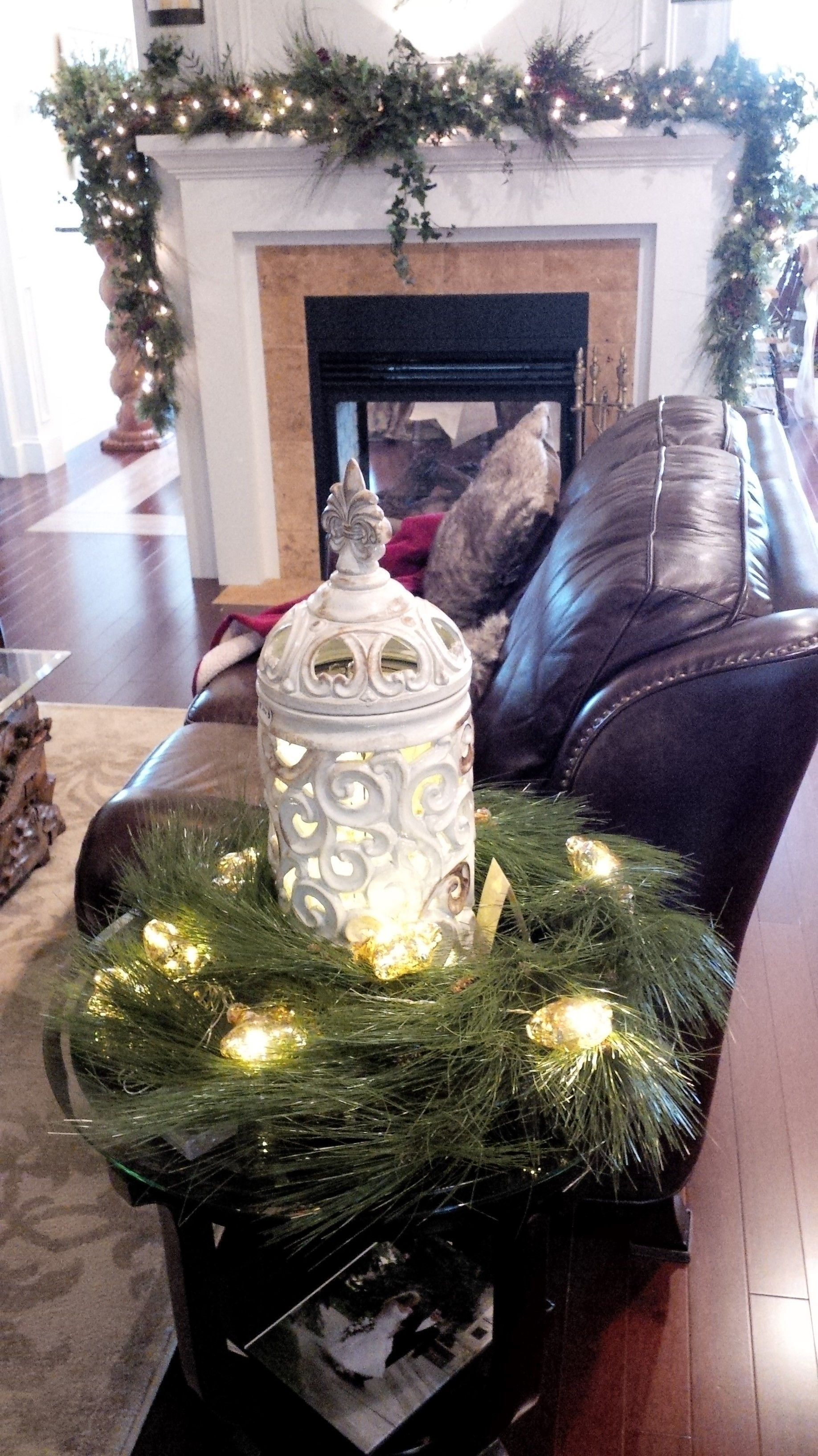 Decorate A Side Table Wreath Lights And The Right Decor Christmas Home Christmas Decorations Decor
