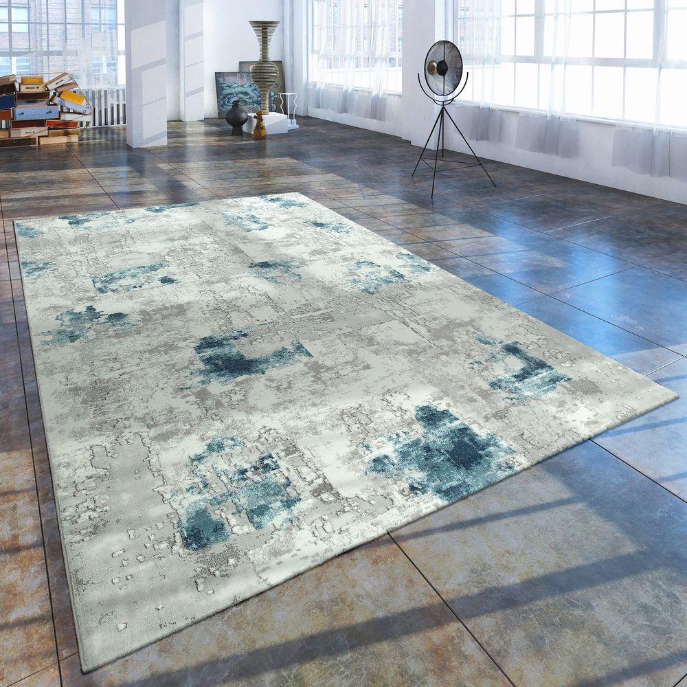Orientteppich Muster Gefarbt Gewebt Blau Grau Vintage