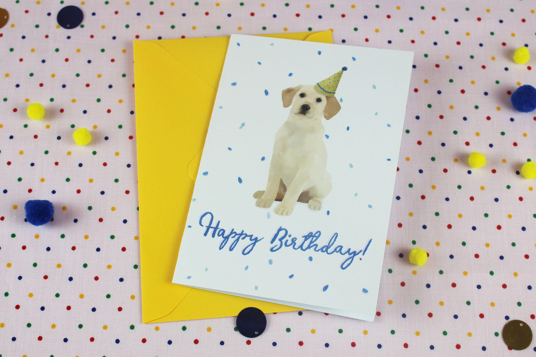 Blank birthday card for him dog card labrador birthday card