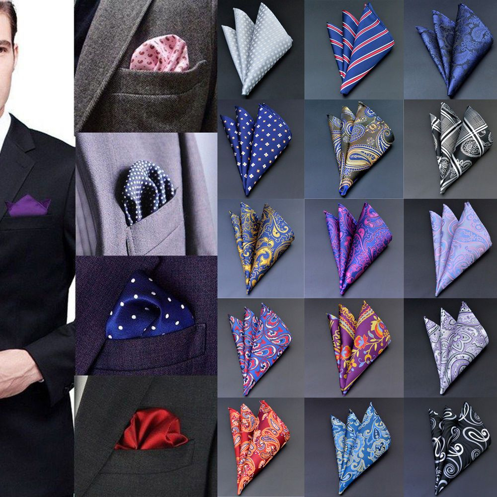 Details about Mens Pocket Square Hankerchief Satin Solid Floral Paisley Dot Floral Hanky Party #pocketsquares