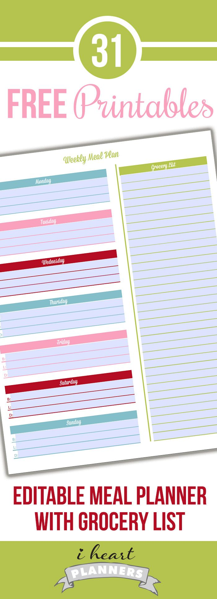 Day  Editable Meal Planner With Grocery List  Weekly Menu