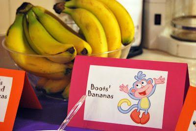 Gabriels Good Tidings Dora Birthday Party Menu Boots banana