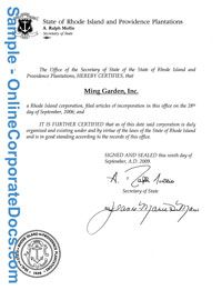 Rhode Island Certificate of Good Standing for your small