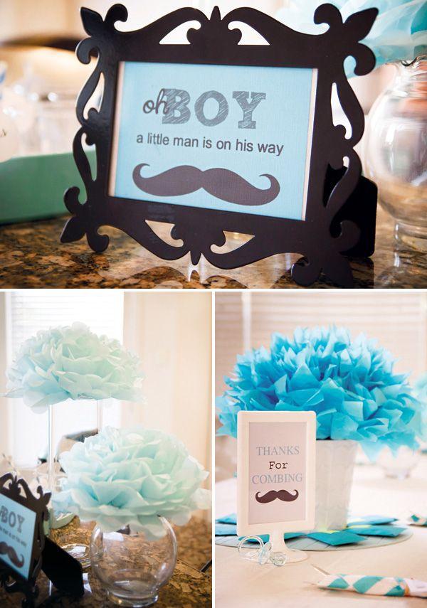 Aqua Little Man Mustache Baby Shower Baby Shower Centerpieces