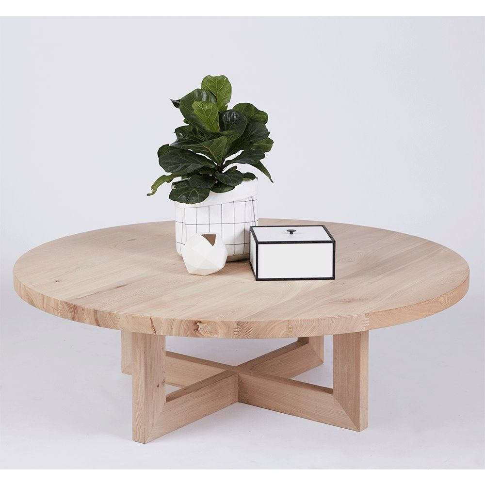 Designer bondi round oak coffee table solid timber accent tables furniture online curves Urban home furniture online