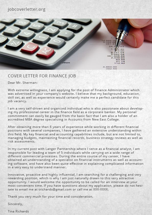 How To Write Cover Letter For Finance Job Job Cover Letter Job