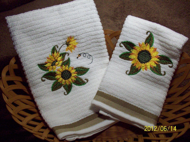 Sunflower Kitchen Stuff Decorative Machine Embroidered Sunflowers Kitchen Towel Sunflower Kitchen Decor Sunflower Kitchen Embroidery Kitchen Towels