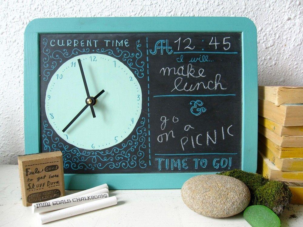 Chalkboard Clock Mini Goals Clockboard Swirly