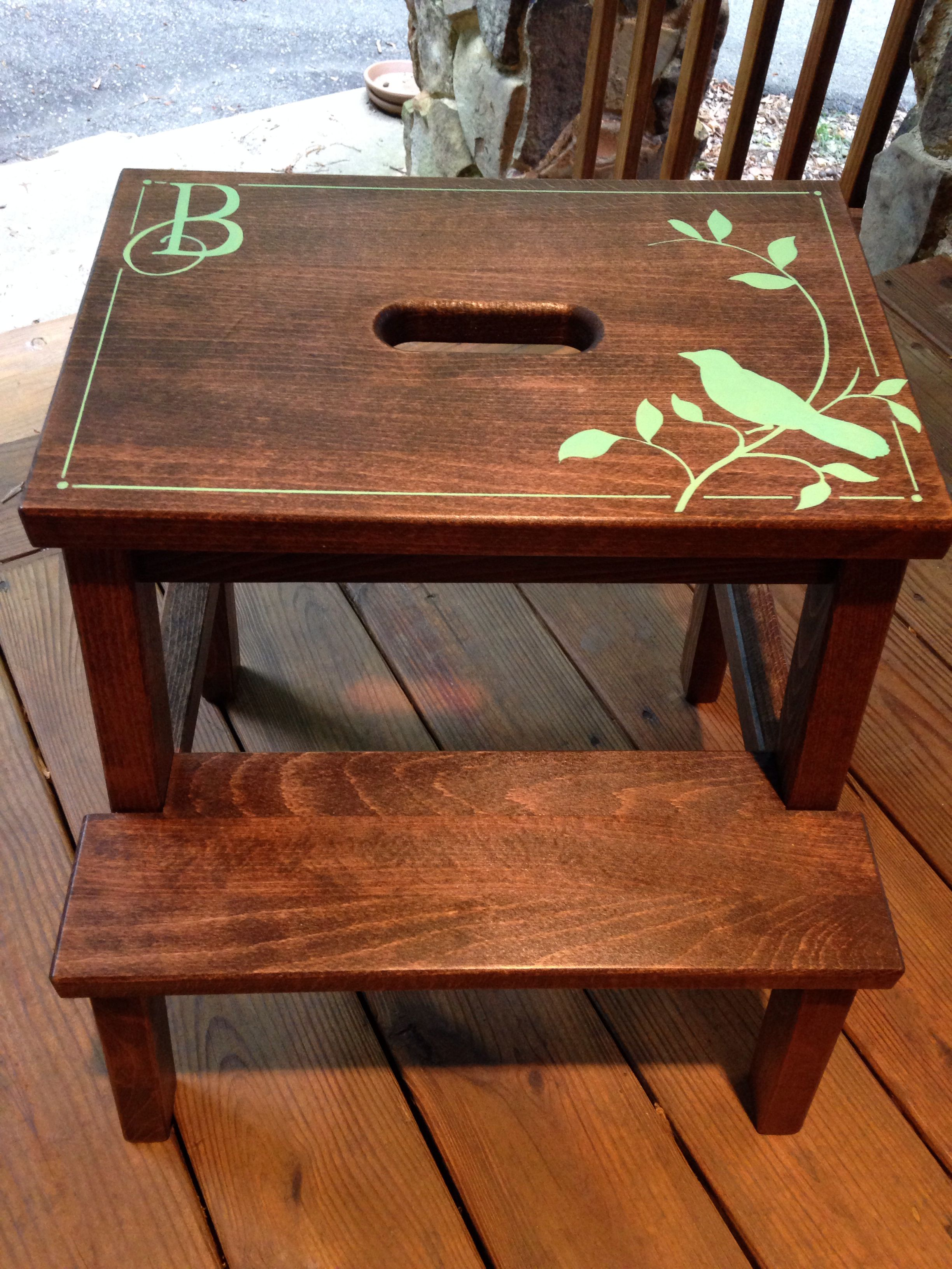 Walnut Stain, Contact Paper Stencilhand Painted, And