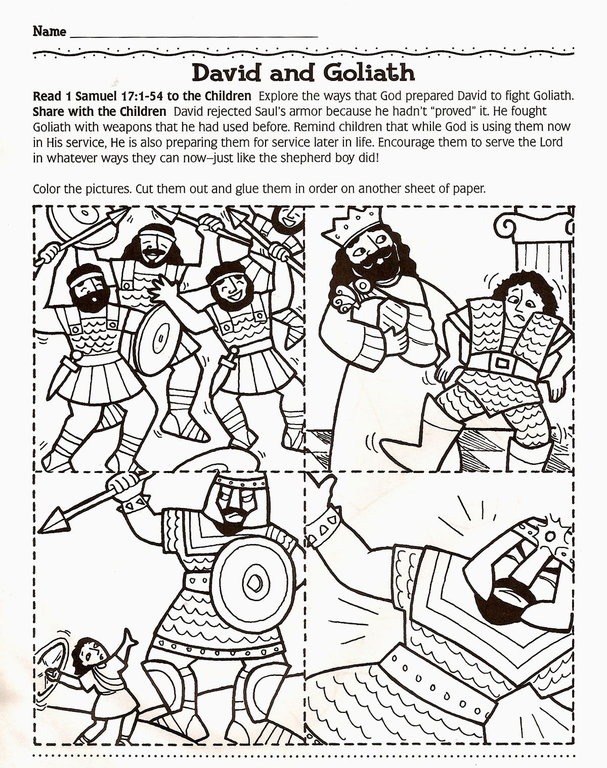 David and Goliath story cards...color, cut out, and glue in order to ...