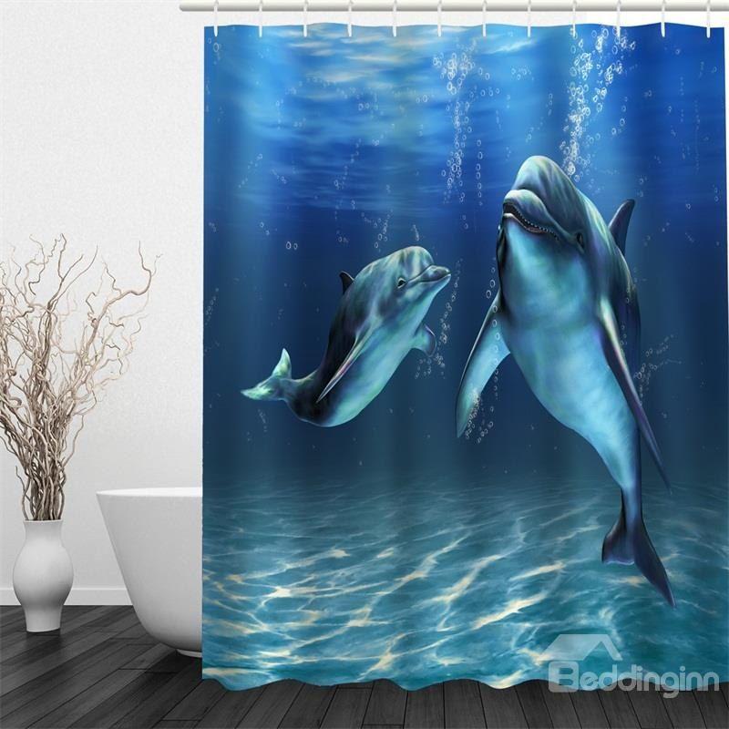 3d Blue Ocean Dolphins Printed Polyester Waterproof Antibacterial