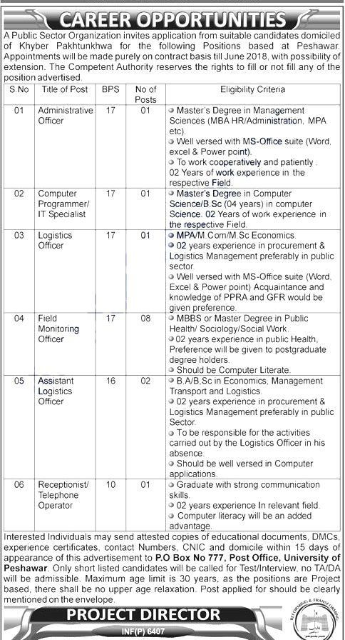 Public Sector Organization Jobs 2017 In Peshawar For Officers And - logistics officer job description