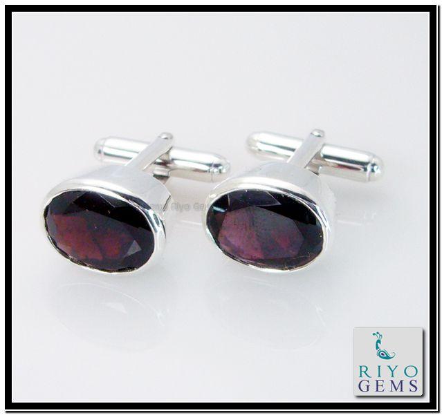 Garnet Silver Cufflink by http://www.riyogems.com