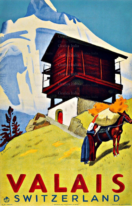 Valais Switzerland Vintage TRAVEL Print, Wall Decor Prints, Home ...