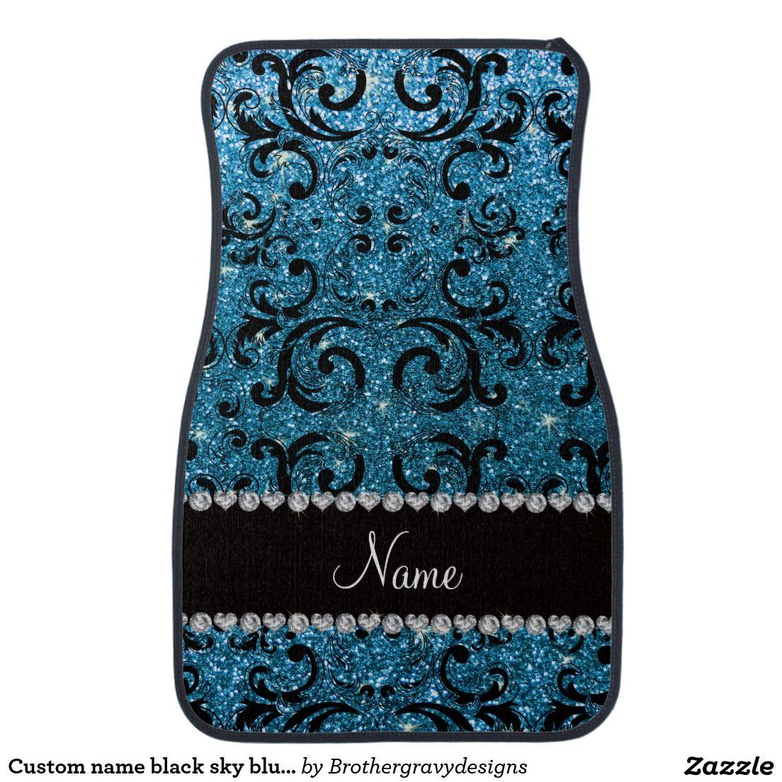 Custom name black sky blue glitter damask car floor mat
