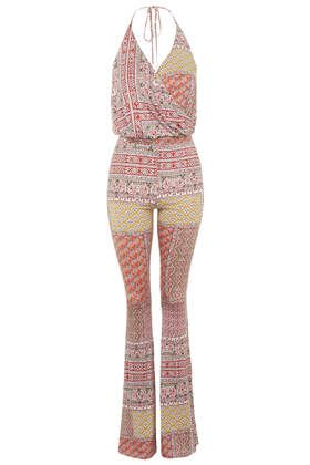 Scarf Print Flared Jumpsuit