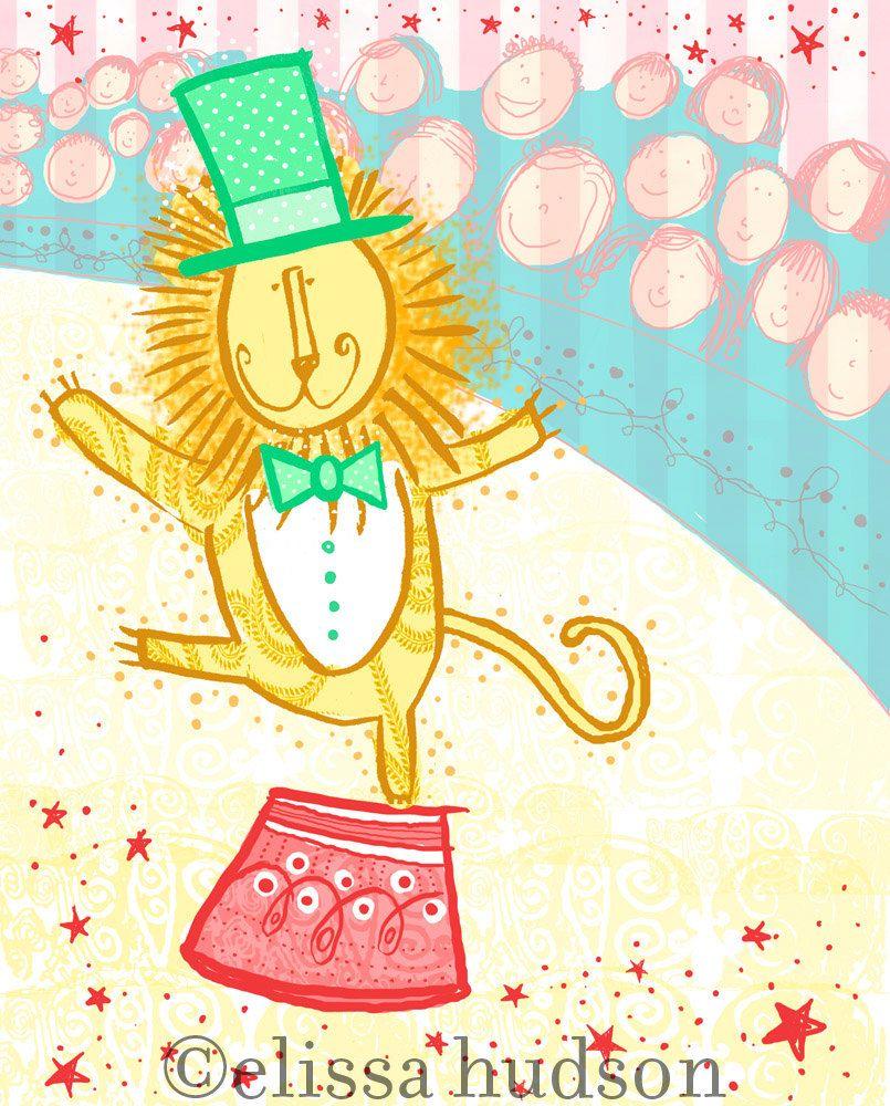 Lion ringmaster circus art - so cute for a nursery room. | NURSERY ...