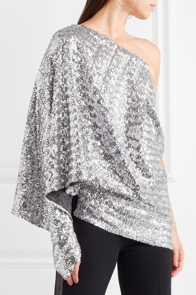 Kara One-shoulder Sequined Stretch-knit Top - Silver Roland Mouret
