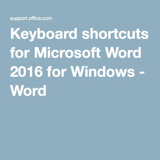 Keyboard shortcuts for Microsoft Word 2016 for Windows - Word - free spreadsheet software for macbook pro