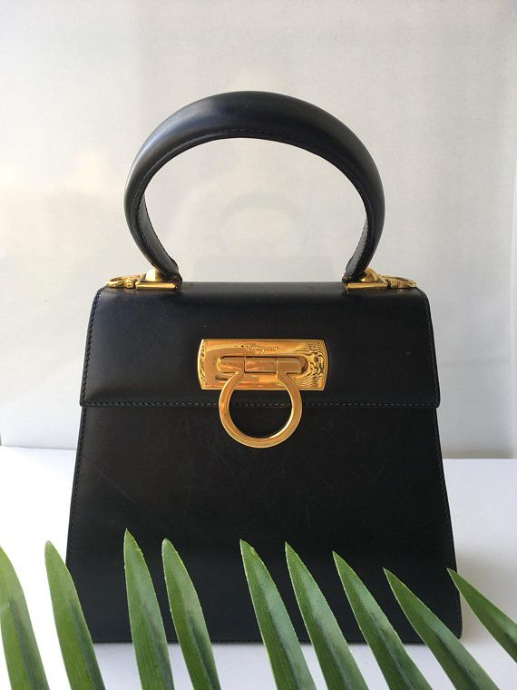 Authentic Vintage Salvatore Ferragamo Bag Gancini Mini Tote Kelly Style Top  Handle Bag 21192a7089