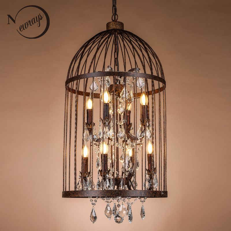 Retro Vintage Black Rust Wrought Iron Cage Chandeliers E14 Big