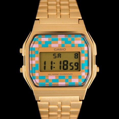 f813c401b1726 Casio A159WGEA-4AEF - Montre Casio dorée cadran Tetris 80's   Open ...