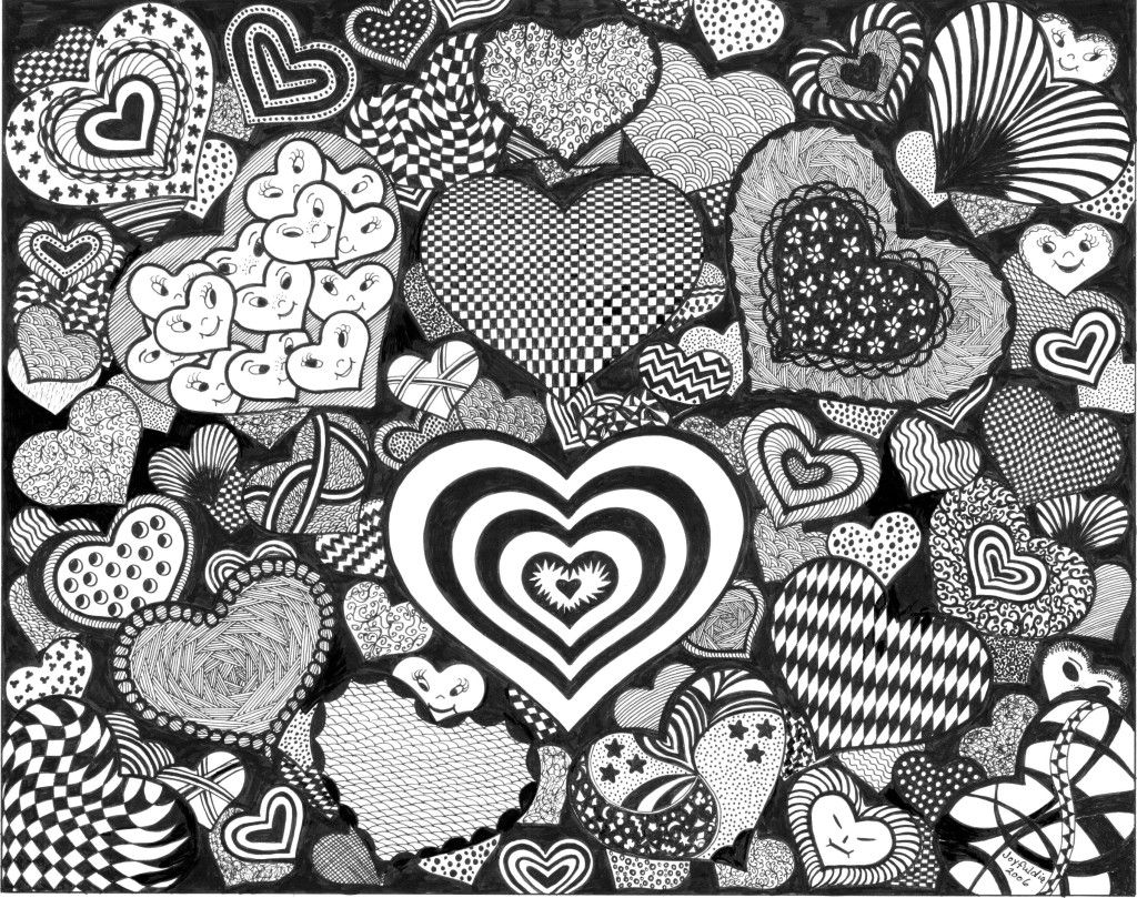 Doodle Art Hearts Adult ColouringHeartsLove Zentangles